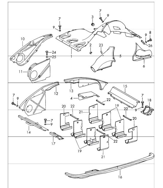 air duct and engine cover 911 1965-69