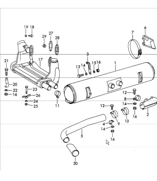 exhaust system for (D) + (S) for 912 1965-69