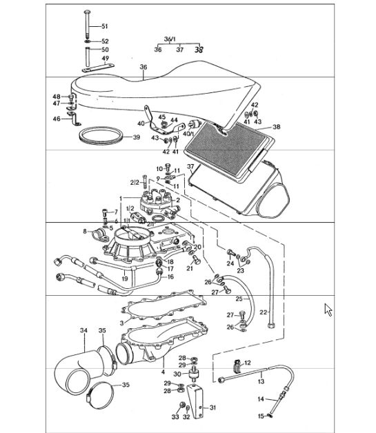 Mixture control unit, air cleaner 911 TURBO 1975-77