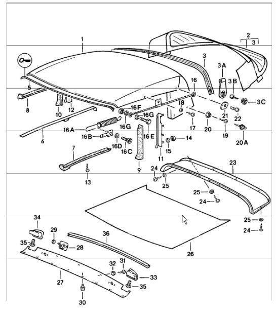 porsche 356 convertible top diagram