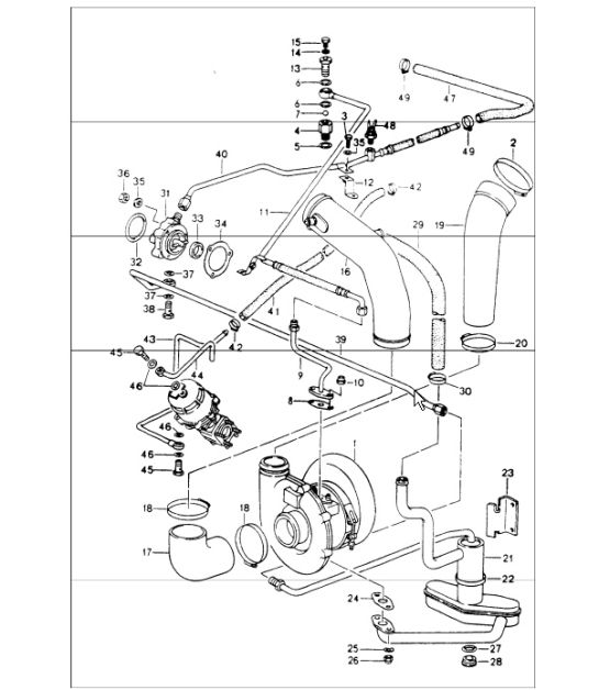 turbocharging oil supply for turbocharger 964 TURBO M30.69 and M64.50 1991-94