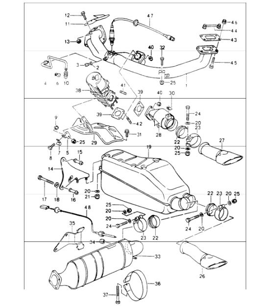 exhaust system 964 TURBO M30.69 and M64.50 1991-94