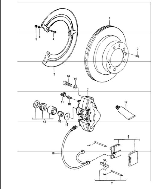 disc brake rear axle 964 CARRERA 2 1989-94