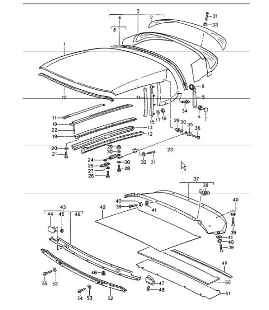 roof diagram parts  u0026 convertible top covering seal single