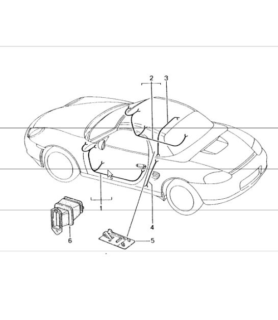Wiring Harnesses Driver's Door Passenger's Hardtop 986 Boxster 1997 04: 1997 Porsche Boxster Wiring Diagram At Anocheocurrio.co
