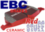 Porsche 924 1977-88 924S 2.5L 1986-87 EBC RED Fast Road Brake Pads