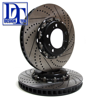 Brake Disc Two-Piece Floating Front CROSS DRILLED for Porsche