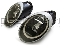 HEADLAMP DUAL PROJECTOR HALOGEN + AURORA LIGHT Porsche 997 05-08 BLACK LENS RHD