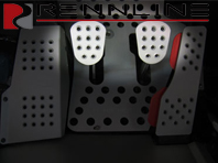 Rennline Aluminum Clutch/brake pedal 2 piece. Perforated. UNIVERSAL