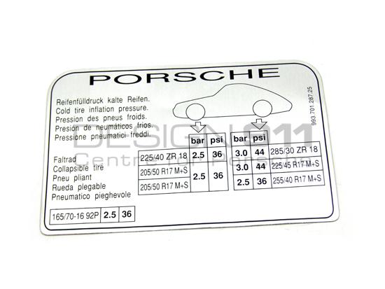 Porsche 993 Turbo Sticker Tyre Pressure 99370128725 - 99370128725